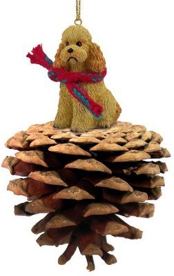 Apricot Poodle Real Pinecone Dog Christmas Ornament by Conversation Concepts