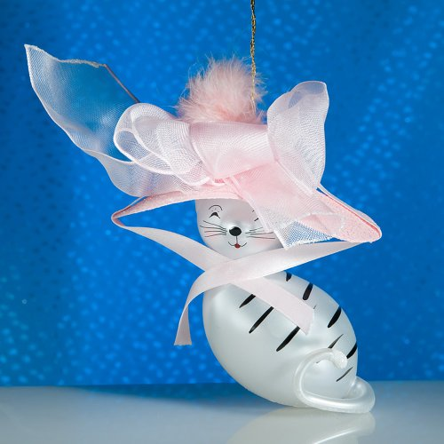 De Carlini White Cat with Elegant Pink Hat Italian Mouthblown Glass Christmas Ornament