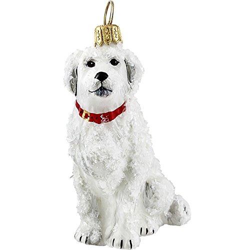 Snowy Great Pyrenees Mountain Dog Polish Blown Glass Christmas Ornament
