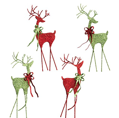 RAZ Imports – 7″ Green and Red Glittered Deer Christmas Tree Ornaments – Set of 4