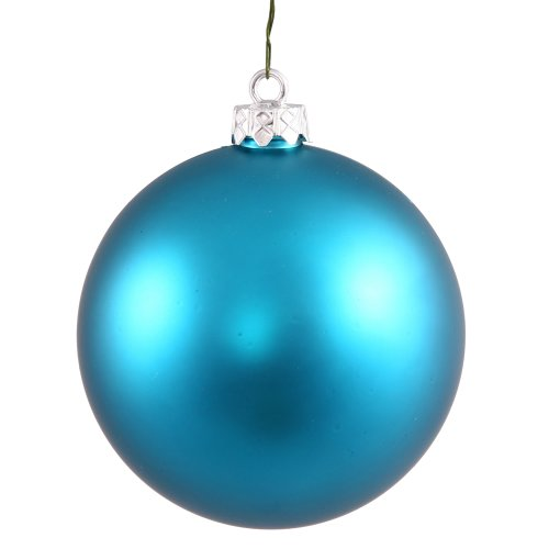 Vickerman Matte Turquoise Blue UV Resistant Commercial Shatterproof Christmas Ball Ornament, 6″