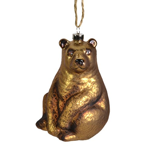 Sage & Co. 4.5″ Glass Bear Ornament, Brown