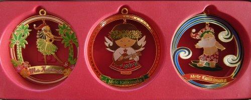 Hawaiian Island Merriment 3-Pack Collectible Metal Christmas Ornaments