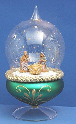 De Carlini Green Nativity Globe on Green Glass Base Stand Christmas Ornament