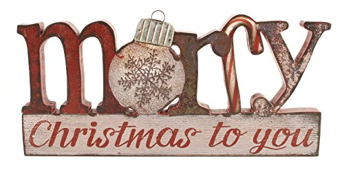 Merry Christmas to You 6 x 12.5 inch Wood and Tin Table Top Sign Plaque