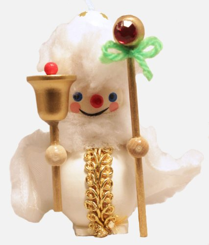 Steinbach White Santa with Staff Wooden German Christmas Ornament