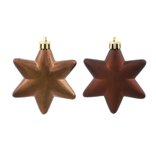 36ct Matte & Shiny Chocolate Brown Star Shatterproof Christmas Ornaments 1.5″-2″