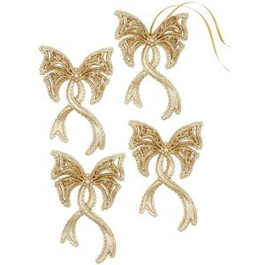 Holiday Lane Set of 4 Gold Bow Ornaments