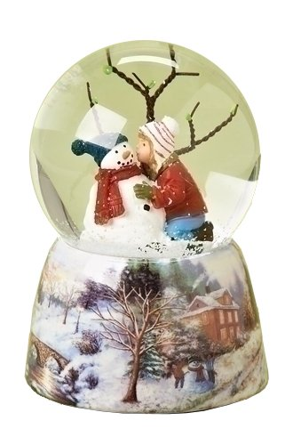 Musical 5″ Child Kissing Snowman Glitter Dome Water Globe – Plays 'Frosty the Snowman'