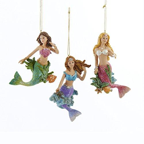 Kurt Adler Resin Mermaid Christmas Tree Ornaments (3 Assorted)
