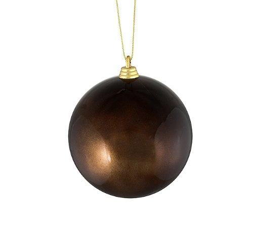 Vickerman Satin Chocolate Brown Shatterproof Christmas Ball Ornament, 4″