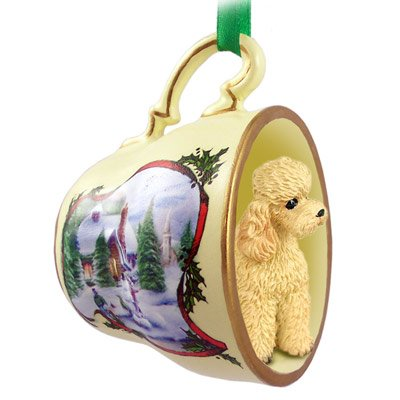 Apricot Poodle in Holiday Scene Teacup Christmas Ornament