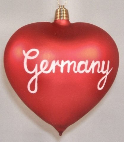 Germany Heart German Glass Christmas Ornament Decoration