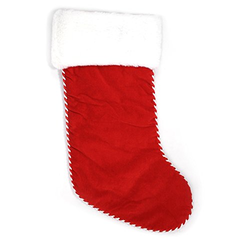Holiday Lane Red Christmas Stocking with Plush White Cuff