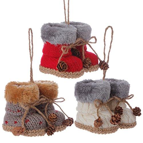 Raz Imports 3″ Knit Boots Ornaments (Set of 3)