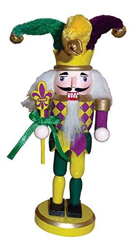 Mardi Gras Colorful Jester Holding Scepter Wooden Nutcracker Christmas Ornament