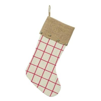 Martha Stewart 19″ Thin Plaid Christmas Stocking with Bell Accents