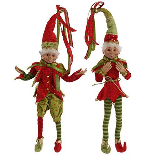 RAZ Imports 20″ Posable Christmas Elf Set of 2 Snow Biz Collection 3202681
