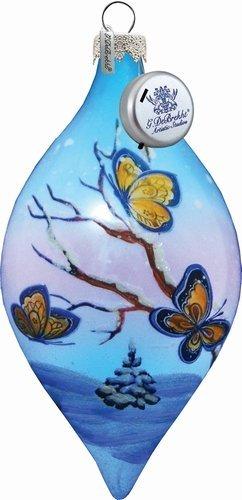 G. Debrekht Led Butterfly Glass Ornament Drop, 5.5″