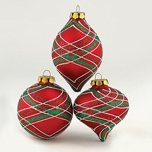 Kurt Adler Red/Green Stripe Ornament, 80mm, Set of 3