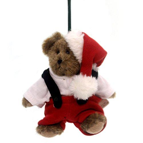 Boyds Bears Plush FAT SANTA ELF ORNAMENT Christmas Teddy Bear Jointed 562741