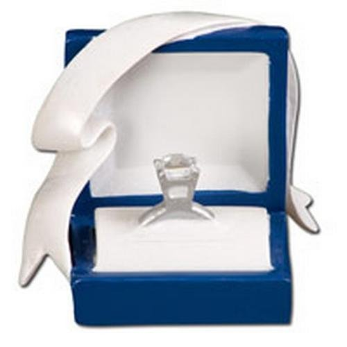 Marry Me Engagement Blue Box Diamond ring Hand Personalized Christmas Ornament. by PolarX Ornaments