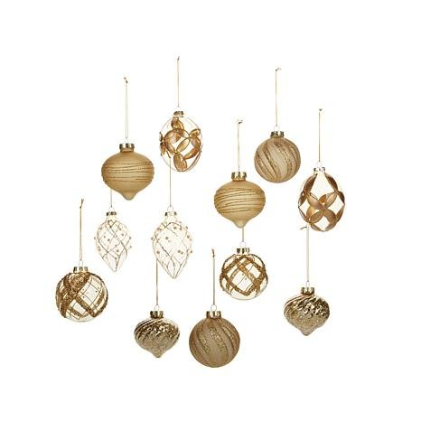 Winter Lane 12-piece Glass Ornament Holiday Set – Gold Frosted