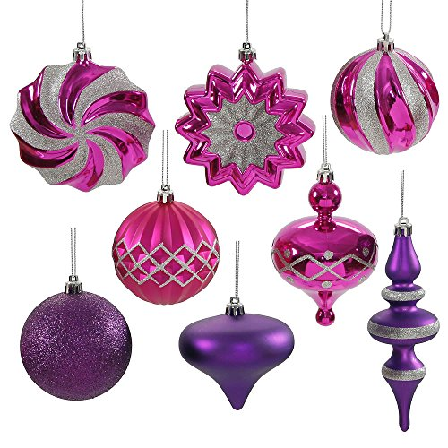Set of 18 Cerise Pink & Purple Passion Ball, Finial and Onion Shatterproof Christmas Ornaments 3″- 6″