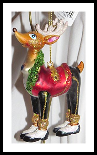 December Diamonds Santa Deer in Red Tuxedo Vest with Four Black & White ShoesBlown Glass Hand painted Ornament.