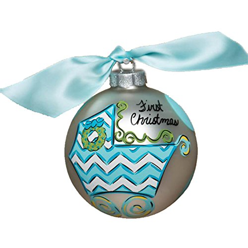 Glory Haus Baby-Feets 1st Boy Glass Ornament, 4-Inch