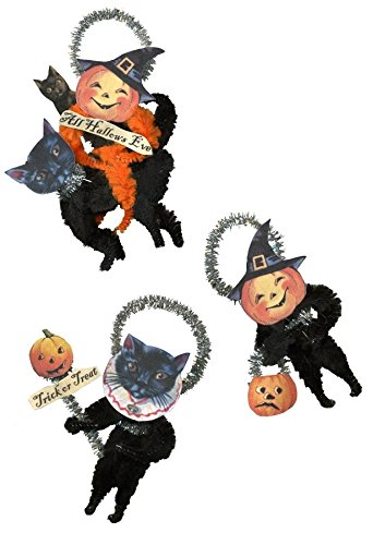 Halloween Vintage Style Chenille Jacks and Cats Ornaments – set of 6