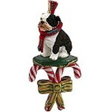 Bulldog Brindle Candy Cane Ornament by Conversation Concepts