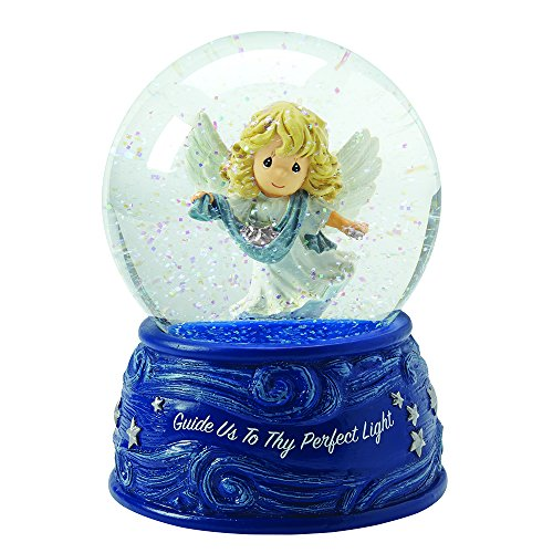 "Precious Moments, Christmas Gifts, ""Angel With Ribbon And Stars"", Plays Angels We Have Heard On High, Musical Snow Globe, #161105"