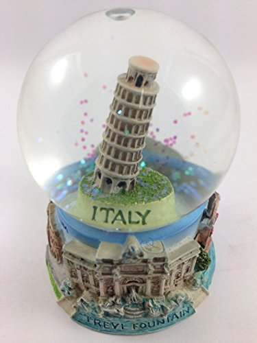 Vintage Snow Globe Water Art Glass Paper Weight 3D Resin Italy Souvenir Gift 001