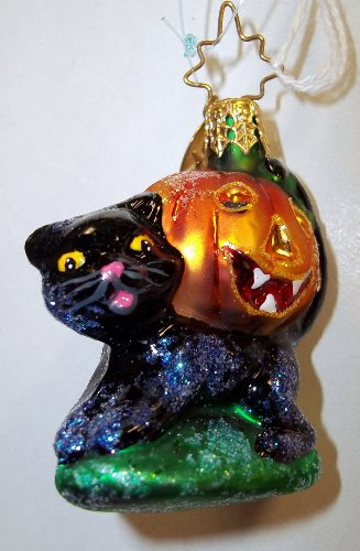Christopher Radko BLACKIE 'N' JACKIE GEM Glass Ornament Halloween Cat Pumpkin