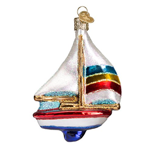 Old World Christmas Sailboat Glass Blown Ornament