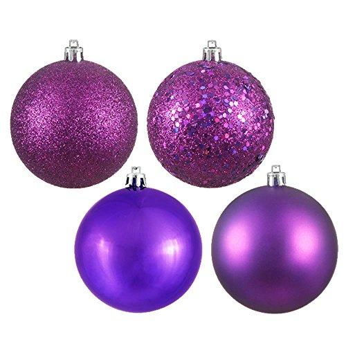 Vickerman Shatterproof Ball Ornament Assortment Featuring Shiny, Matte, Sequin, and Glitter Finishes, 4 per Bag, 12″, Plum