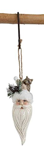 Santa Head with Raccoon Hanging Christmas Ornament