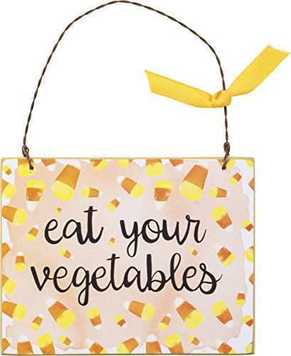 PBK Halloween Decor – Ornament Sign Candy Corn Eat Your Vegetables #33229
