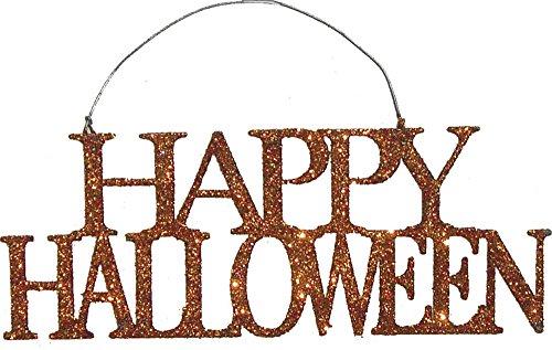 Primitives by Kathy Orange Glitter Tin Halloween Ornament – Happy Halloween 6.63″