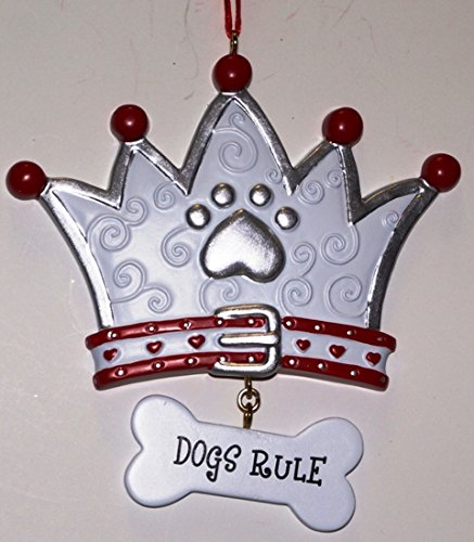 Dogs Rule Crown with Paw Print Christmas Tree Ornament Dog Pet Decoration New
