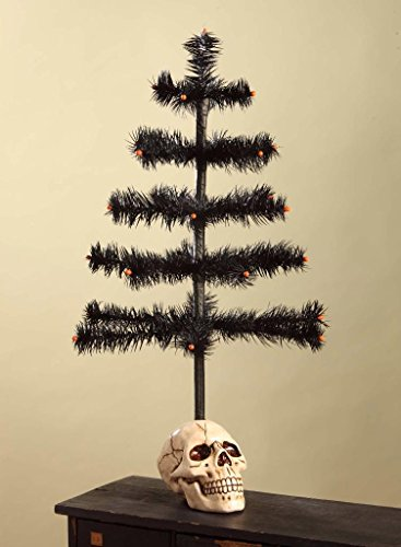 Bethany Lowe Black Hallowen Feather Tree with Resin Skull Base, 20″ Tall