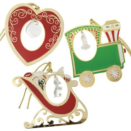 Gloria Duchin 7067 Sparkle 3 Piece Set Crystal-Accented Christmas Ornaments, Gold And Silver Tone Finishe