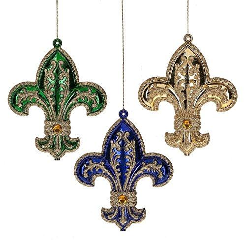 Midwest-CBK Fleur-de-Lis Ornament (3 asstd) Set of 3 Plastic