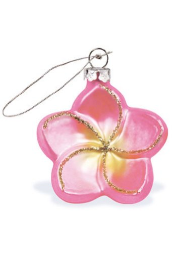 Hawaiian Glass Christmas Ornament Pink Plumeria