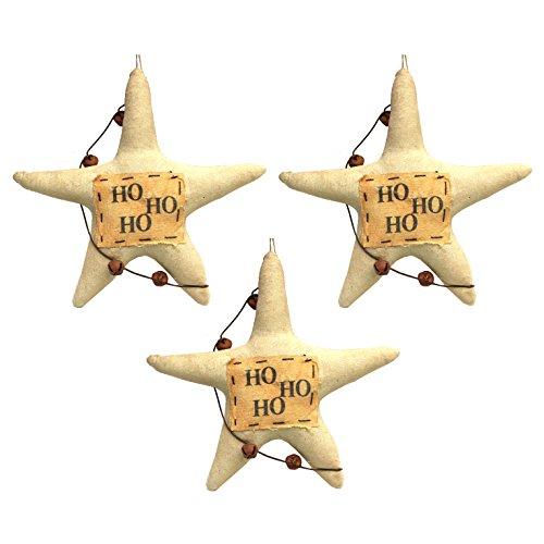 Primitives by Kathy, Jenn Steffa 'Ho Ho Ho' Vintage Canvas Star Christmas Ornaments (Set of 3)