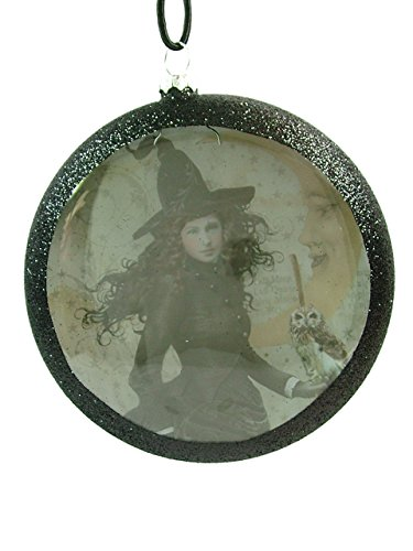 Black Witch Magic Hat Owl Broom Moon Stars Dome Halloween Ornament