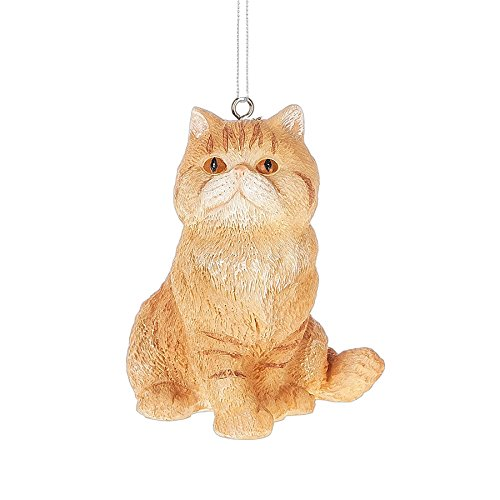 Orange Tabby Cat Pet Resin Stone Christmas Ornament