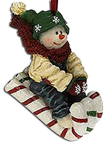 2nd Edition Boyds Frannie Sweetride Riding on a Candy Cane Sled Snowman Ornament