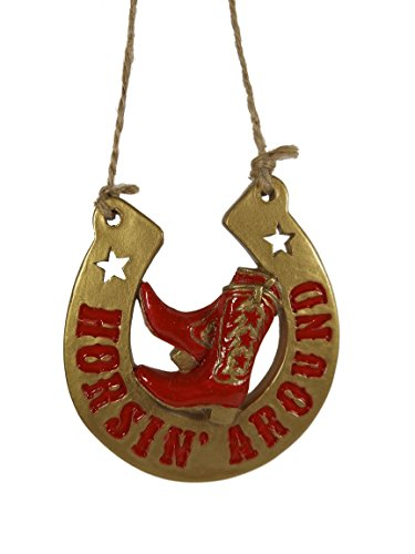 Horsin' Around Horseshoe Cowboy Boots Spur Western Rodeo Christmas Ornament